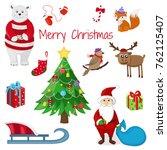 merry christmas cute animals.... | Shutterstock .eps vector #762125407