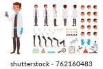 scientist man vector. animated... | Shutterstock .eps vector #762160483