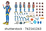 diver man vector. animated... | Shutterstock .eps vector #762161263
