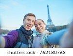 happy couple taking selfie near ... | Shutterstock . vector #762180763