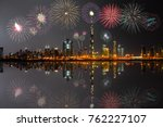 new year fireworks display at...   Shutterstock . vector #762227107