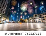 fireworks display at town... | Shutterstock . vector #762227113