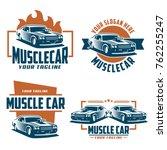 template of muscle car logo ... | Shutterstock .eps vector #762255247