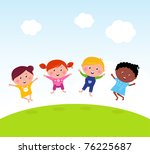 happy jumping girls and boy.... | Shutterstock .eps vector #76225687