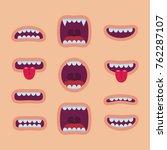 cartoon mouths set. smile | Shutterstock .eps vector #762287107