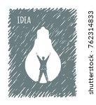 idea. the man  raising his... | Shutterstock .eps vector #762314833