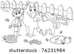 boy with cute horse and colt.... | Shutterstock . vector #76231984