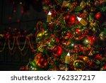 classic green new year tree... | Shutterstock . vector #762327217