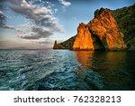 golden gate rock in karadag... | Shutterstock . vector #762328213