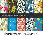 floral pattern background set.... | Shutterstock .eps vector #762335377