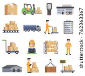warehouse isolated flat icons... | Shutterstock . vector #762363367