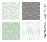 set of vector seamless floral... | Shutterstock .eps vector #762371317