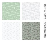 set of vector seamless floral... | Shutterstock .eps vector #762371323