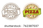 pizza logo with cartouche and... | Shutterstock .eps vector #762387037