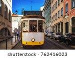 public transport tram in the... | Shutterstock . vector #762416023