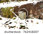 winter  snowy garden with tin... | Shutterstock . vector #762418207