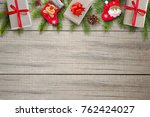 christmas composition on wooden ... | Shutterstock . vector #762424027