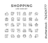 set line icons of shopping | Shutterstock .eps vector #762424777