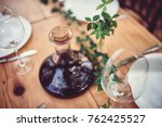 wine decanter and glasses on... | Shutterstock . vector #762425527