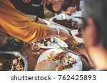 family dining outdoor at... | Shutterstock . vector #762425893