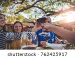 serving glass of wine over the...   Shutterstock . vector #762425917
