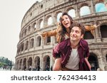 young couple at the colosseum ... | Shutterstock . vector #762434413