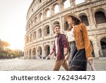 young couple at the colosseum ... | Shutterstock . vector #762434473