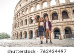 young couple at the colosseum ... | Shutterstock . vector #762434497