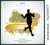 young jogger with abstract... | Shutterstock .eps vector #762434977