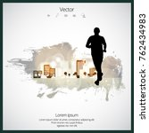 young jogger with abstract... | Shutterstock .eps vector #762434983