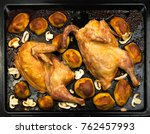 homemade roasted chicken with... | Shutterstock . vector #762457993