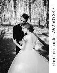 happy wedding couple hugging... | Shutterstock . vector #762509347