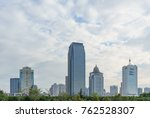 downtown modern building with... | Shutterstock . vector #762528307