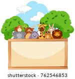 wooden board with cute animals... | Shutterstock .eps vector #762546853