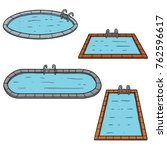 vector set of swimming pools | Shutterstock .eps vector #762596617