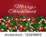 christmas lettering with... | Shutterstock .eps vector #762608803