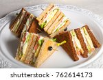 club sandwich with meat  cheese ... | Shutterstock . vector #762614173