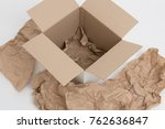 empty cardboard box with... | Shutterstock . vector #762636847
