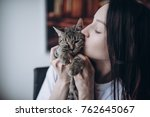 beautiful young brunette woman... | Shutterstock . vector #762645067