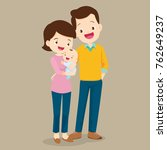 couple and baby.cute family dad ... | Shutterstock .eps vector #762649237