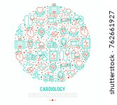 cardiology concept in circle... | Shutterstock .eps vector #762661927