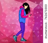girl writing text message on... | Shutterstock .eps vector #762673303