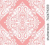 pink and white damask vector... | Shutterstock .eps vector #762674203