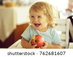 laughing cute fair haired blond ... | Shutterstock . vector #762681607