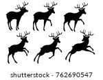 deer stencil  pattern for santa ... | Shutterstock .eps vector #762690547