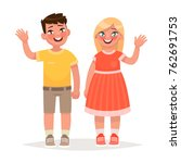 boy and girl are waving hands.... | Shutterstock .eps vector #762691753
