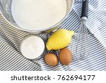metal bowl with the ingredients ... | Shutterstock . vector #762694177