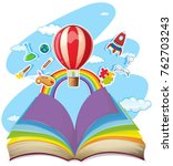colorful book with balloon in... | Shutterstock .eps vector #762703243