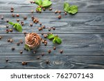 tasty chocolate cupcake on... | Shutterstock . vector #762707143