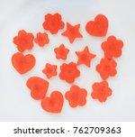 carrot cut in heart  sakura and ... | Shutterstock . vector #762709363